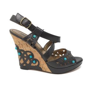 Charles David 8B Brown Leather Cork Wedge Sandals